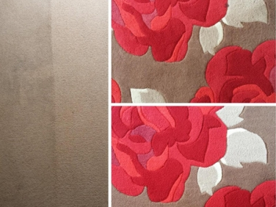 The Rose rug shows before with a stain and after once the stain has been removed