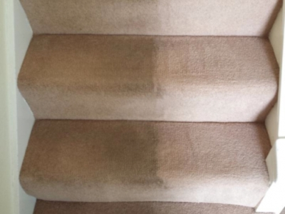 Stairs in a home probably has the highest traffic so generally is the dirtiest, Here is a stair carpet we have cleaned showing Before and After results
